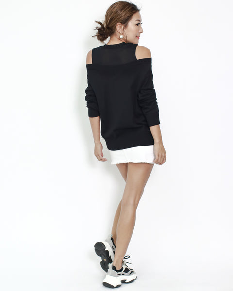 black mesh with knitted cutout shoulders top