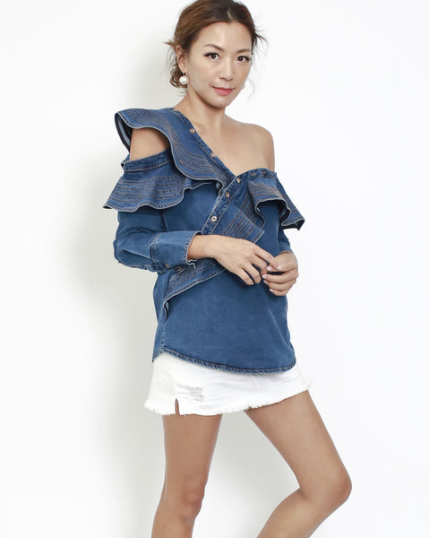 denim ruffles off shoulder top