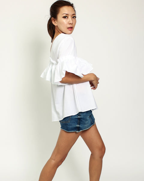 white one shoulder ruffles shirt top *pre-order*