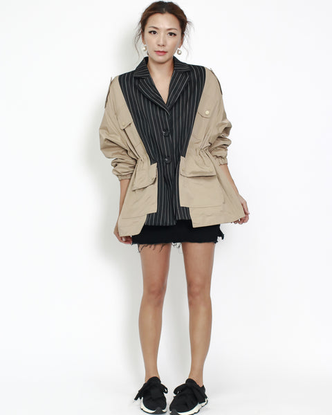 beige with charcoal stripes contrast jacket
