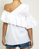 white one shoulder ruffles shirt top