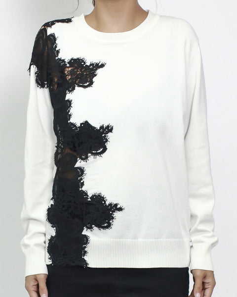 ivory knitted with black lace top *pre-order*