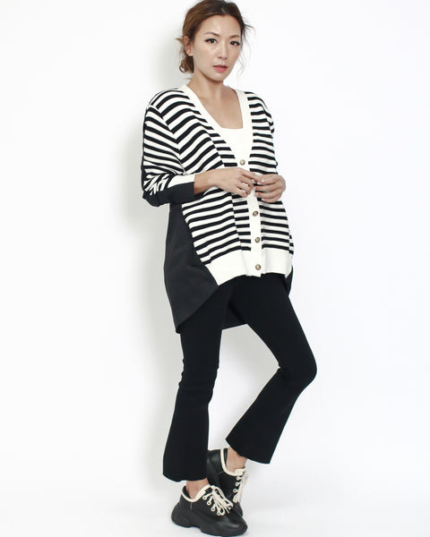 ivory with black knitted front & shirt back cardigan