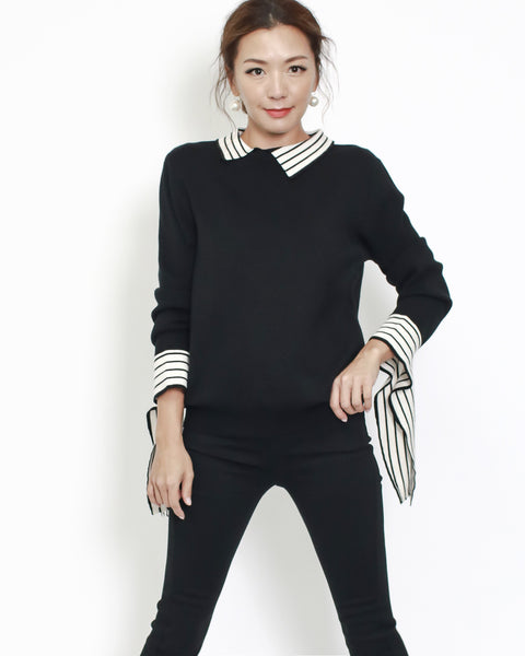 black knitted with ivory stripes collar & cuffs top