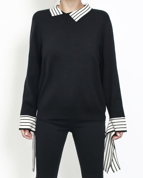 black knitted with ivory stripes collar & cuffs top *pre-order*