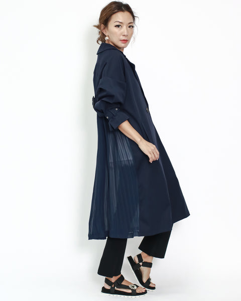 navy twill with chiffon pleats back longline trench coat