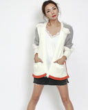 ivory with grey & orange throw on tassels cardigan *pre-order*