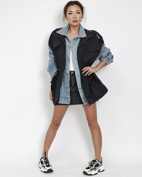 denim with black technic weave contrast jacket *pre-order*