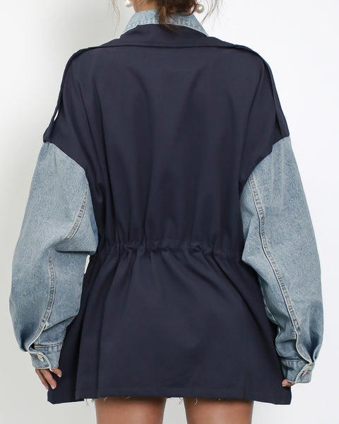 denim with navy technic weave contrast jacket *pre-order*
