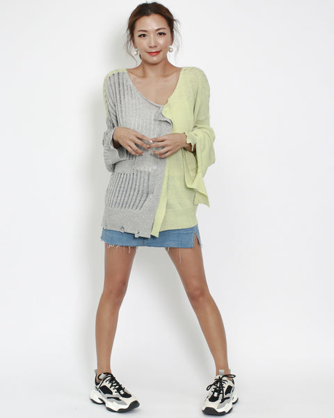 grey with lime contrast cardigan