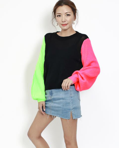 black with neon green & pink sleeves knitted top *pre-order*