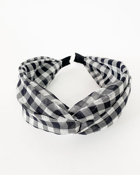 black gingham twisted fabric headband *pre-order*