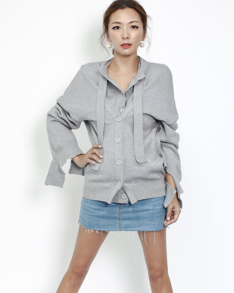 grey layers button knitted cardigan