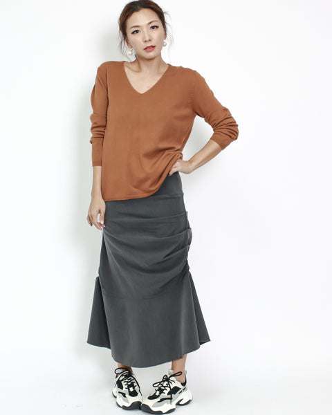 grey ruched with flare longline shirt skirt *pre-order*