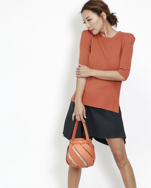 tangerine puff sleeves knitted top *pre-order*