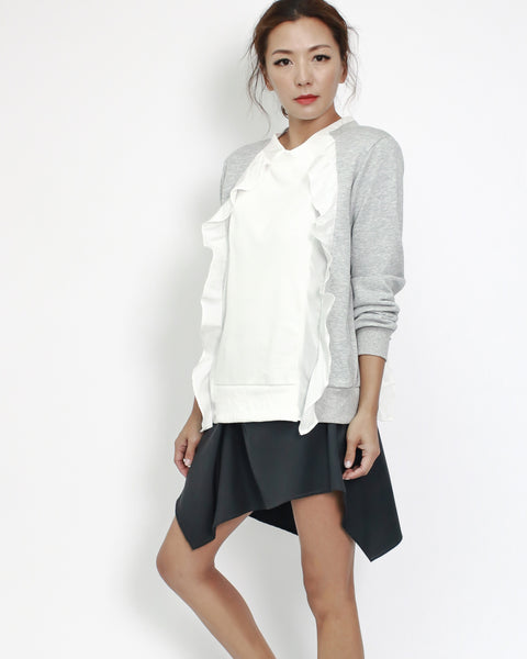 grey soft sweat with ivory slinky ruffles top