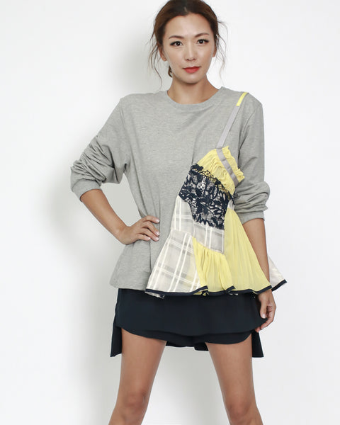 grey sweat with yellow & ivory pleats lace contrast top