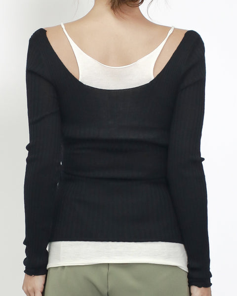 black ottoman with ivory strappy layer top *pre-order*