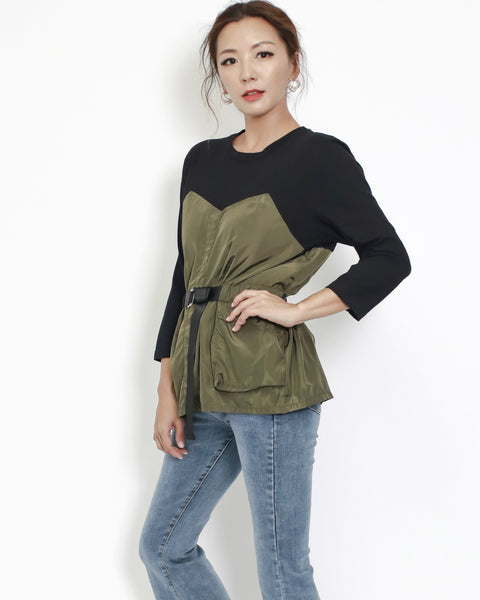 black tee with army green technic weave contrast top