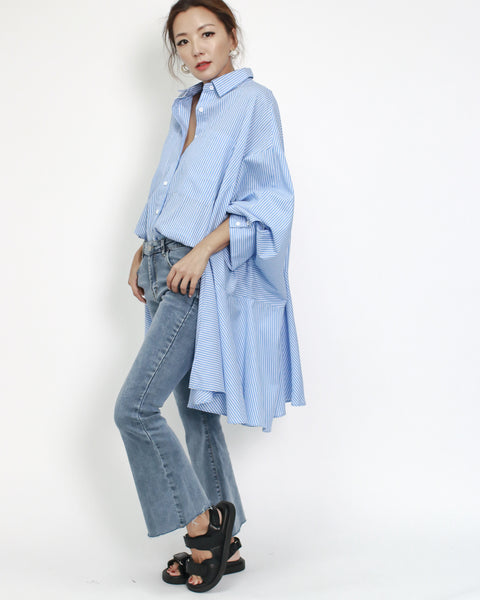 blue stripes asymmetric hem shirt