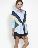 blue shirt with navy & green contrast top *pre-order*