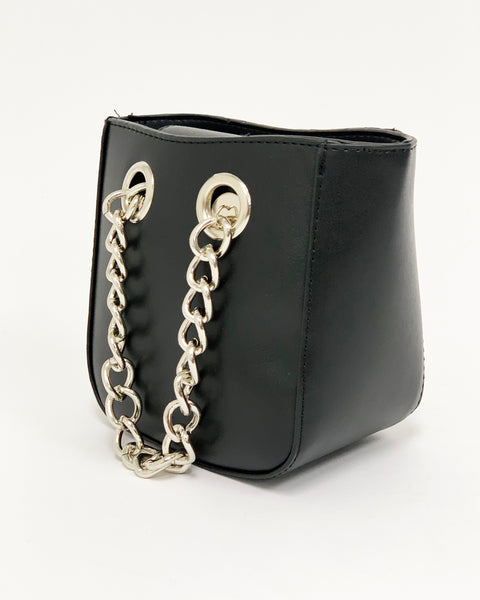 black faux leather silver metal chain handles bag *pre-order*