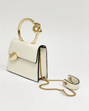 beige faux leather gold metal ring handle bag *pre-order*