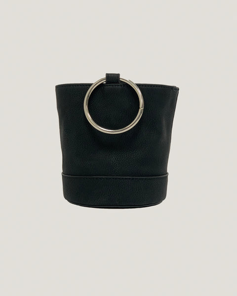 black faux suede mini bucket bag *pre-order*