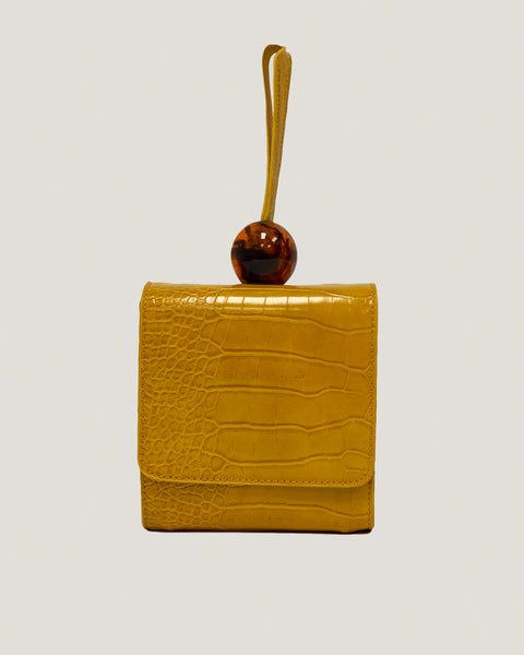 mustard faux croc-embossed leather bag with bead *pre-order*