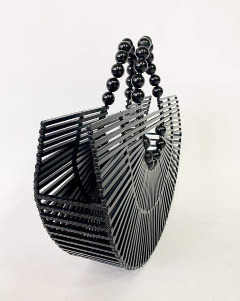 black beads wooden curve bag *pre-order*