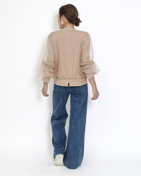 beige knitetd with mesh cropped cardigan *pre-order*