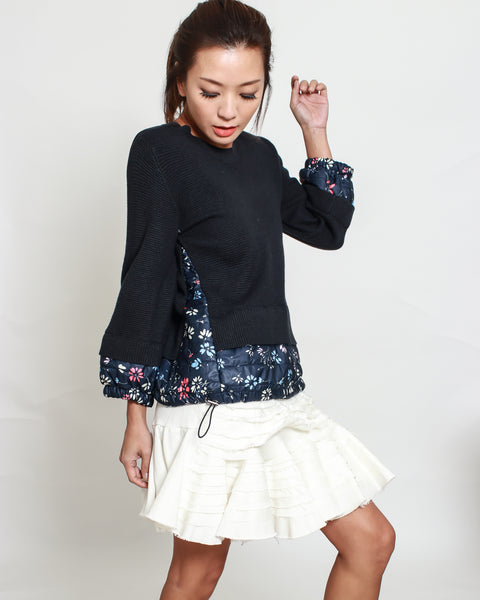 black knitted & floral puff top *pre-order*
