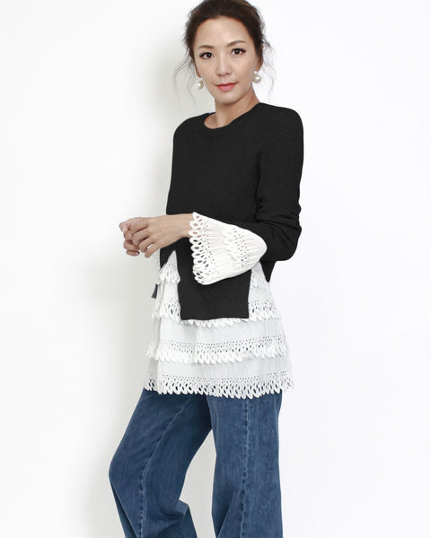 black knitted & ivory crochet top