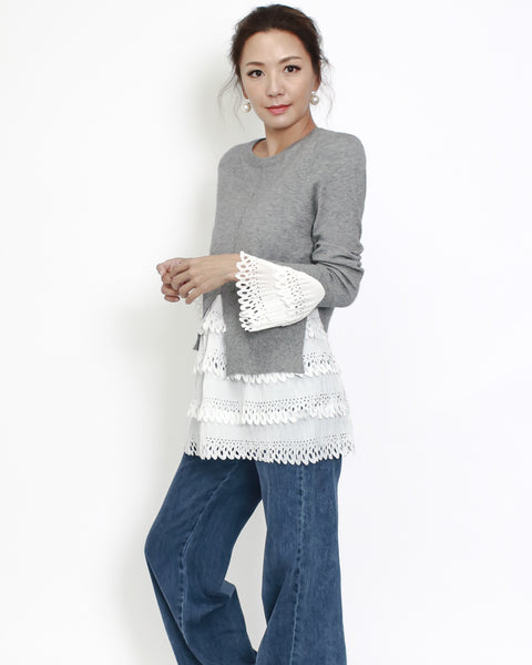 grey knitted with ivory crochet layers contrast top