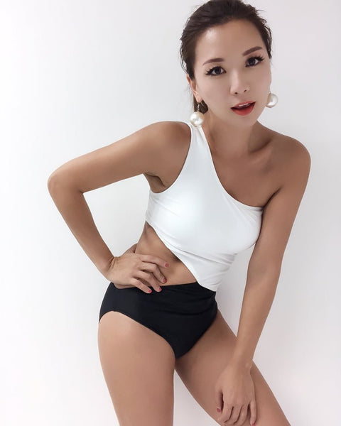 black & ivory cutout one shoulder swimsuit *pre-order*