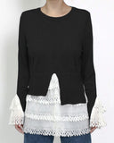 black knitted & ivory crochet top *pre-order*