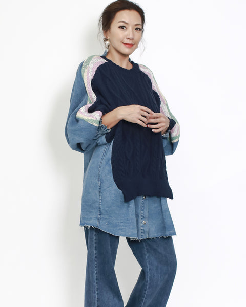 Navy knitted with denim contrast top *pre-order*