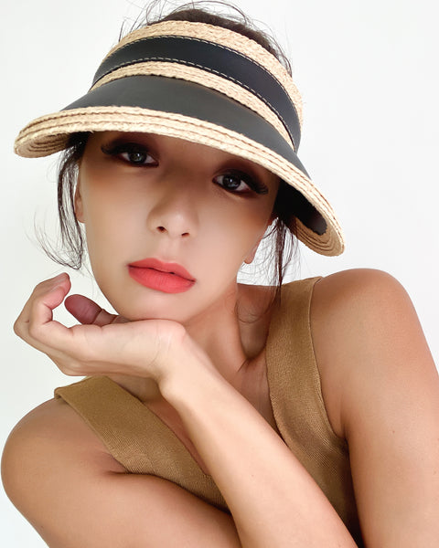 black & PU leather straw visor hat