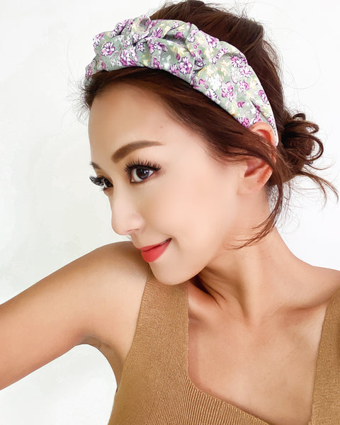 green floral fabric rucehd headband *pre-order*