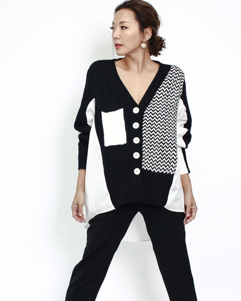 black & grey with ivory shirt back cardigan *pre-order*
