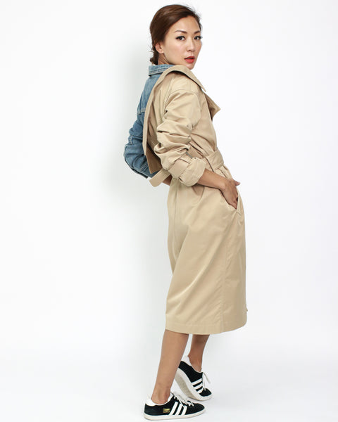 beige with denim contrast trench coat with belt *pre-order*