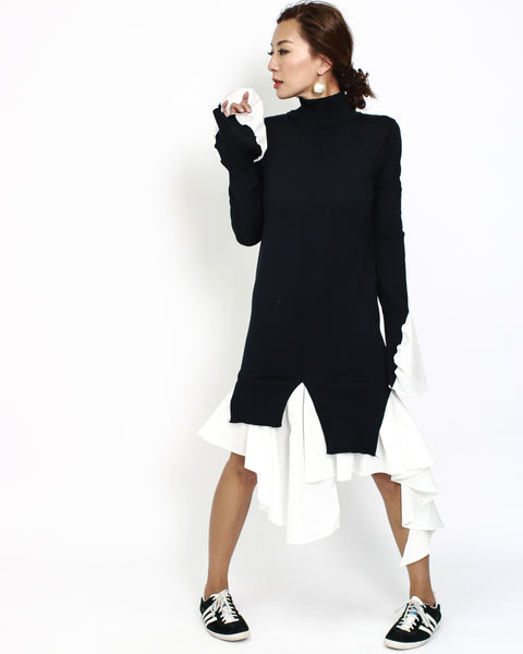 black knitted & ivory shirt asymmetric hem dress *pre-order*