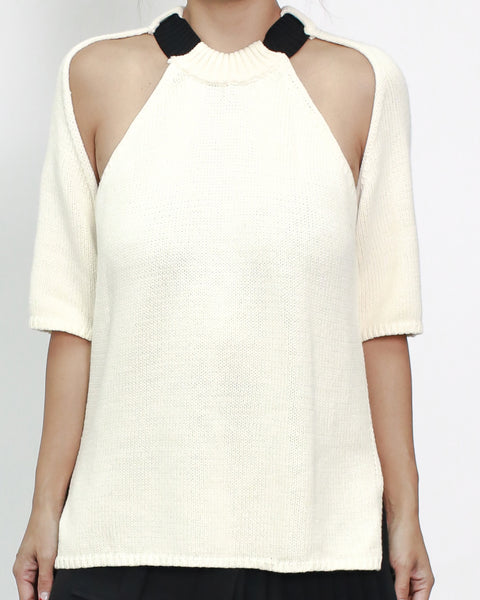 ivory cutout shoulders knitted top