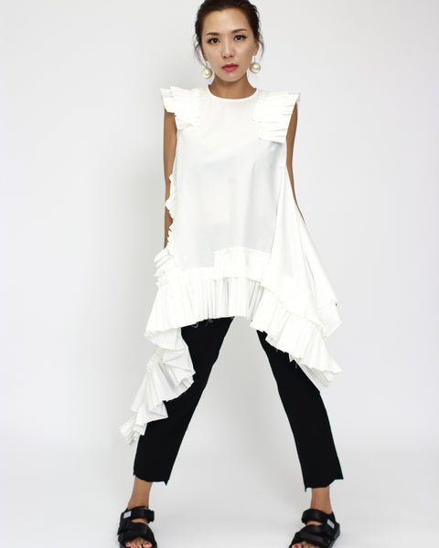 ivory pleats asymmetric shirt top *pre-order*