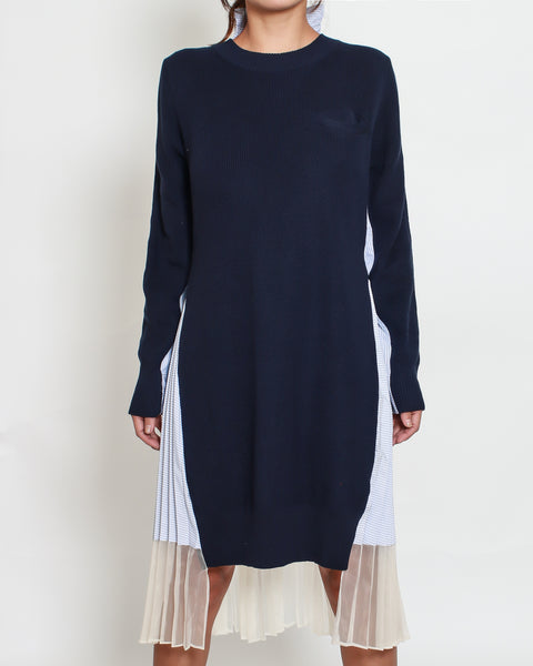 navy knitted dress with stripes pleats and mesh hem back