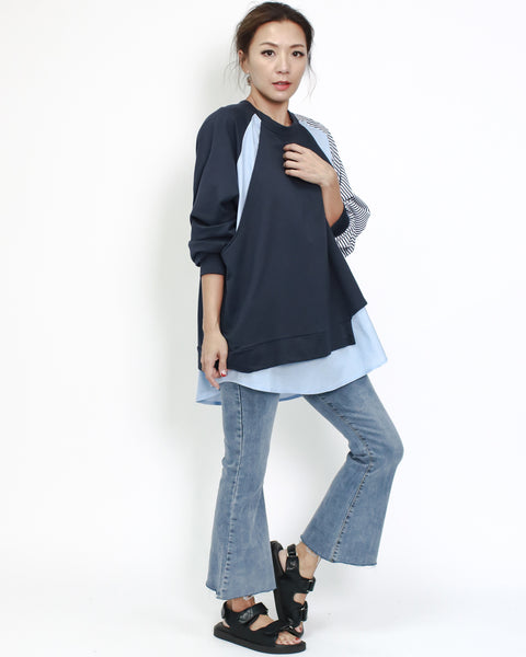 navy sweat with blue shirt & stripes contrast top *pre-order*