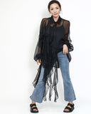 black sheer chiffon ruffles shirt top with slip
