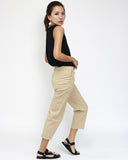 Khaki cropped basic joggers