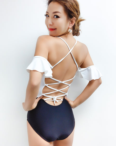 ivory off ruffles shoulders & black contrast bottom with lace up back one piece swimwear *pre-order*