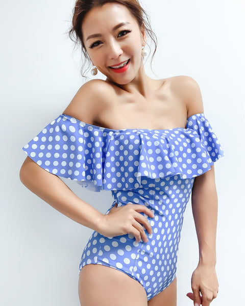 blue polka dots ruffles off shoulders one piece swimwear *pre-order*